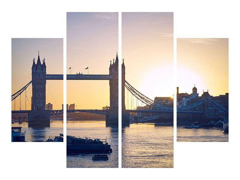 Leinwandbild 4-teilig Tower Bridge bei Sonnenuntergang