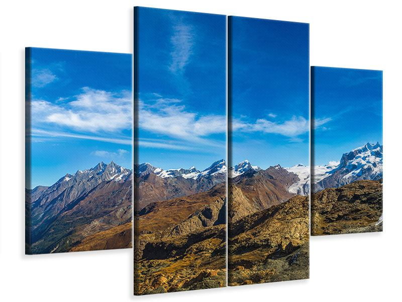 Leinwandbild 4-teilig Schweizer Alpen im Frühling