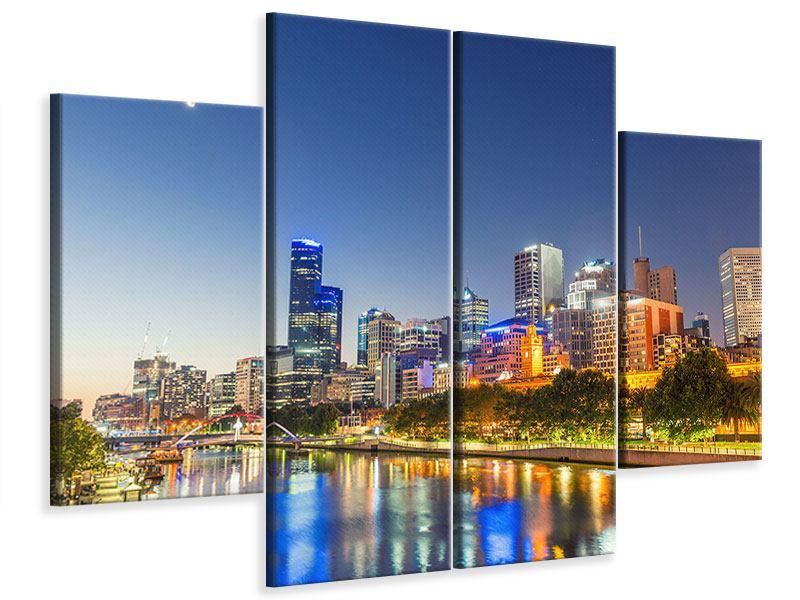 Leinwandbild 4-teilig Skyline Sydney in der Abenddämmerung