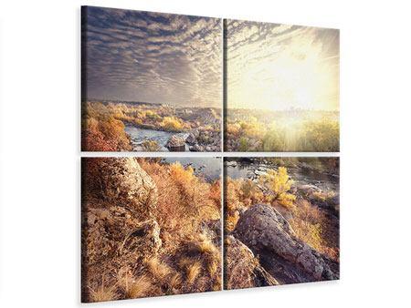 Leinwandbild 4-teilig Sonnenaufgang am Fluss