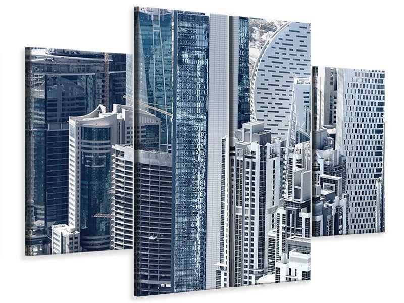 Leinwandbild 4-teilig Die Wolkenkratzer von Dubai