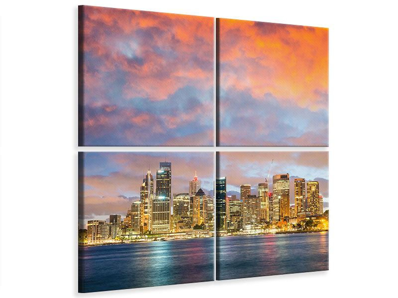 Leinwandbild 4-teilig Skyline Das Lichtermeer von Sydney