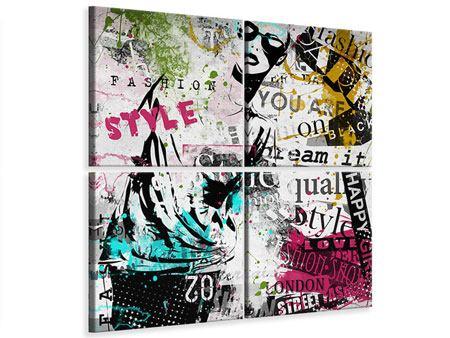 Leinwandbild 4-teilig Fashion