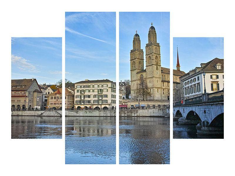 Leinwandbild 4-teilig Die Altstadt von Zürich