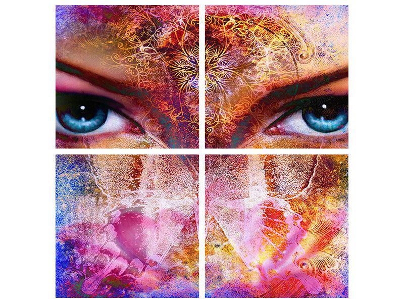 Leinwandbild 4-teilig Psychedelic Face