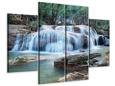 Leinwandbild 4-teilig Ein Wasserfall