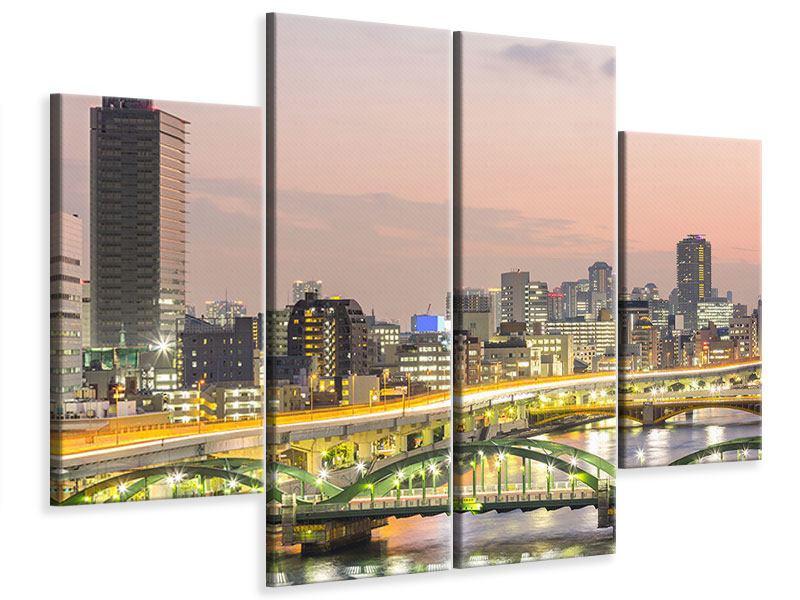 Leinwandbild 4-teilig Skyline Das Lichtermeer von Tokio