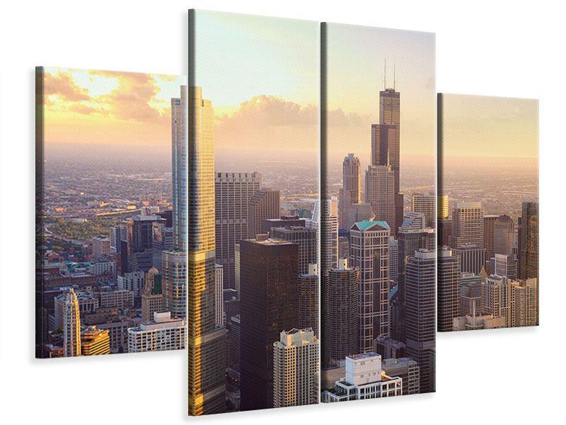Leinwandbild 4-teilig Skyline Chicago