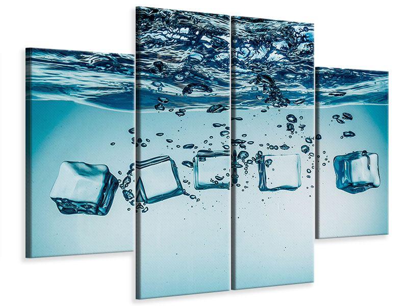Leinwandbild 4-teilig Eiswürfel-Quadro