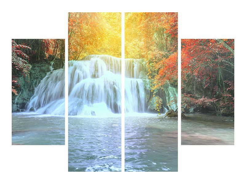 Leinwandbild 4-teilig Wasserfall im Licht