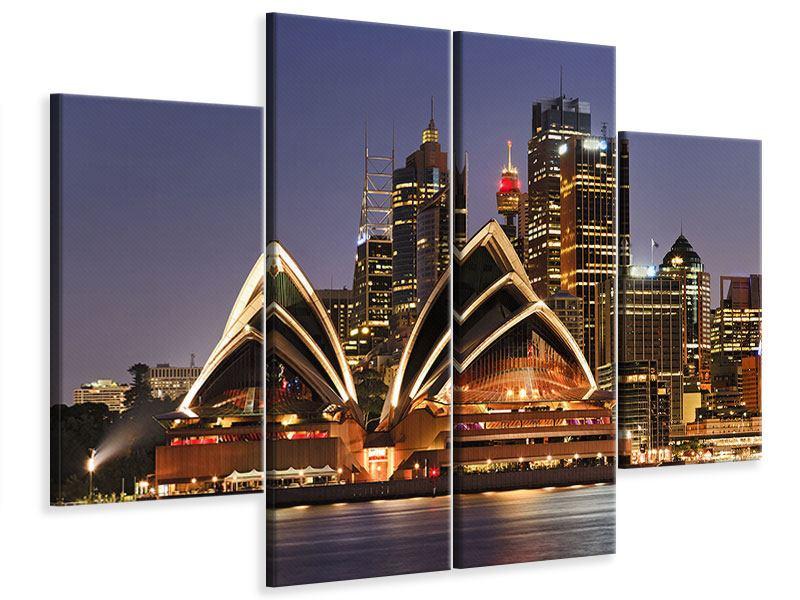 Leinwandbild 4-teilig Skyline Mit dem Boot vor Sydney