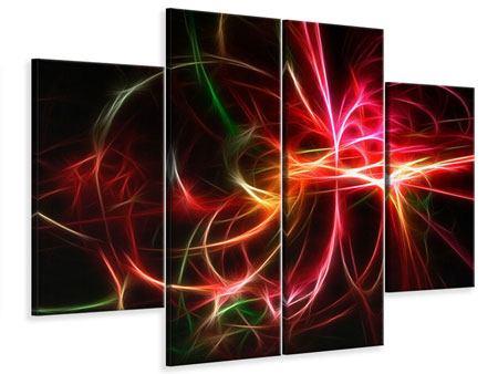 Leinwandbild 4-teilig Fraktales Lichtspektakel