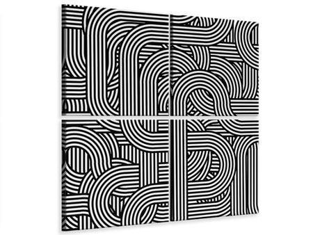 Leinwandbild 4-teilig 3D Black & White