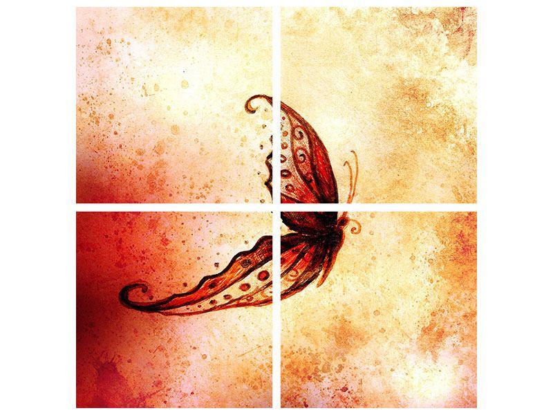 Leinwandbild 4-teilig Butterfly Gemälde