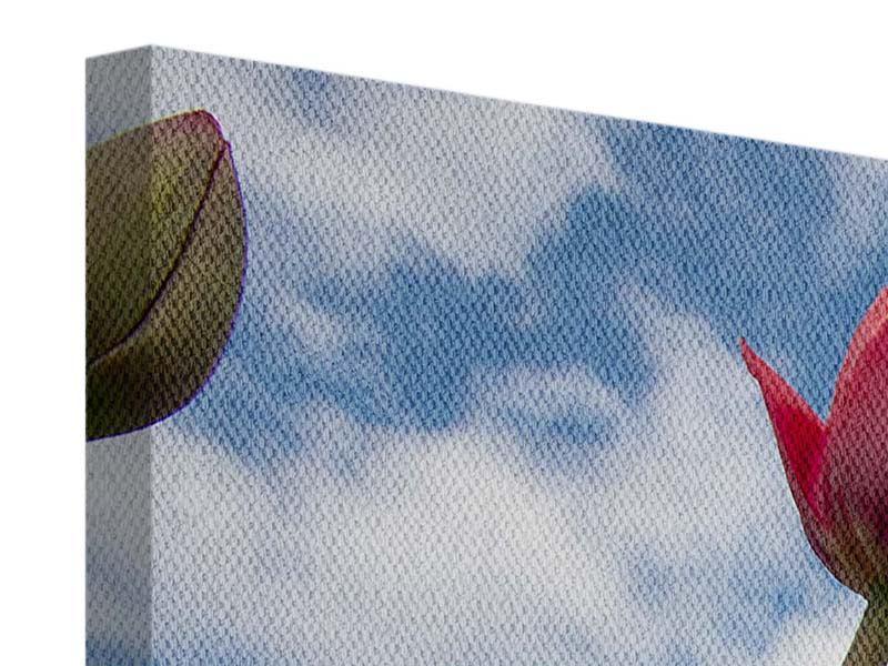 Leinwandbild 4-teilig Tulpen im Himmel