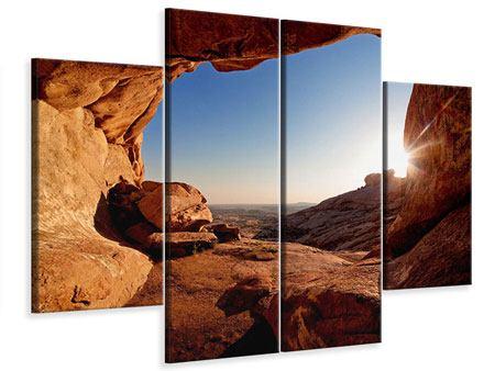 Leinwandbild 4-teilig Sonnenuntergang vor der Höhle