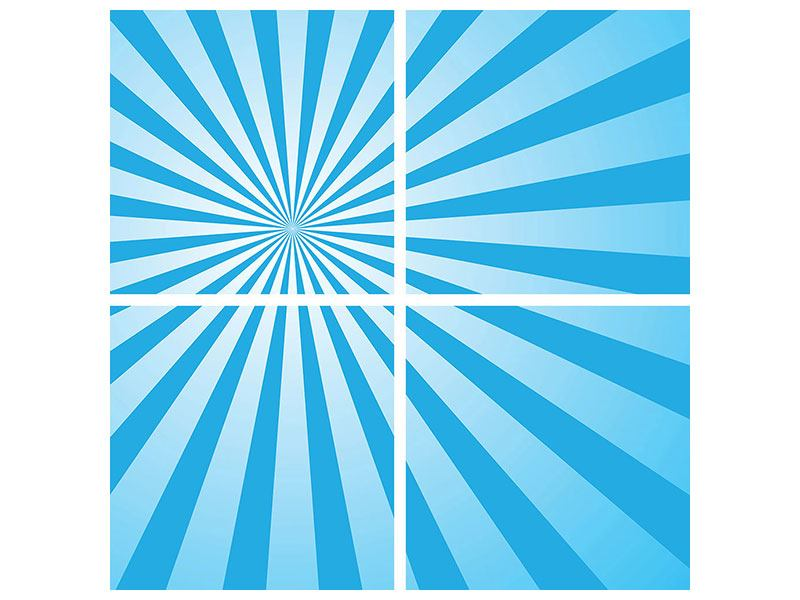 Leinwandbild 4-teilig Retrowelle Streifenperspektive