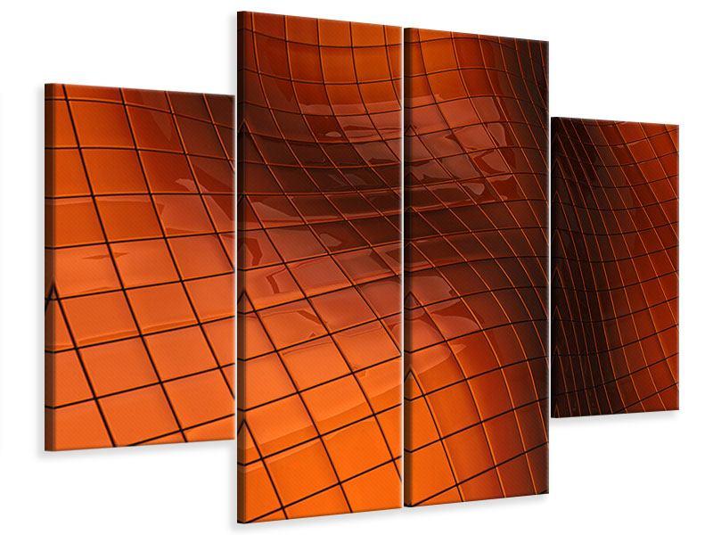 Leinwandbild 4-teilig 3D-Kacheln