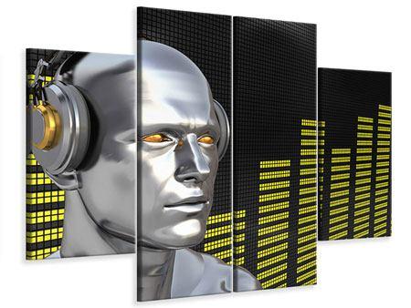 Leinwandbild 4-teilig Futuristischer DJ