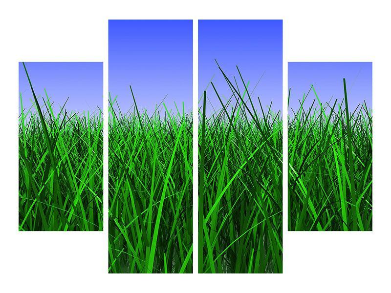 Leinwandbild 4-teilig Im Gras