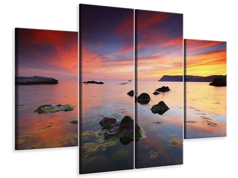 Leinwandbild 4-teilig Ein Sonnenuntergang am Meer
