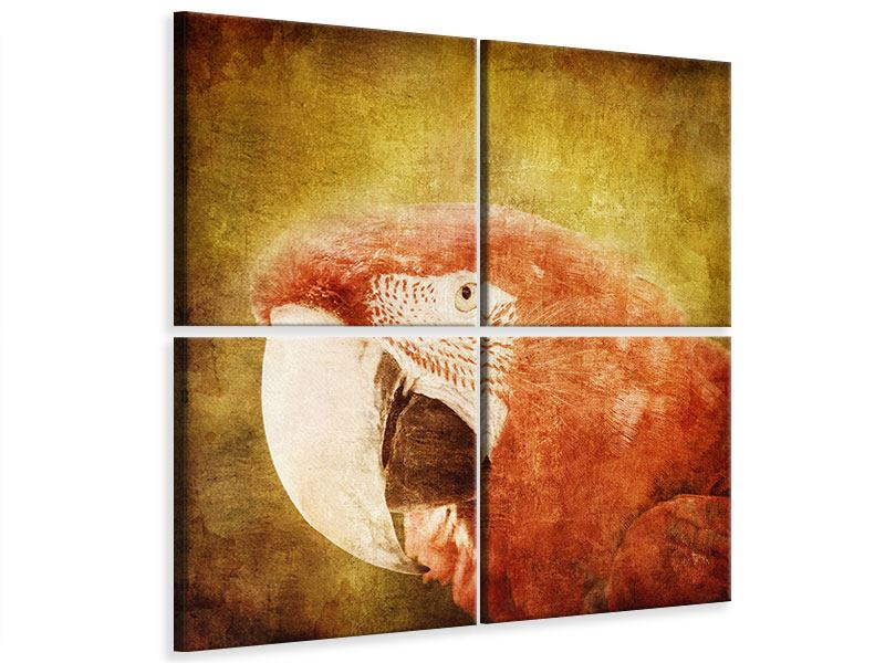 Leinwandbild 4-teilig Ara im Retrostyle