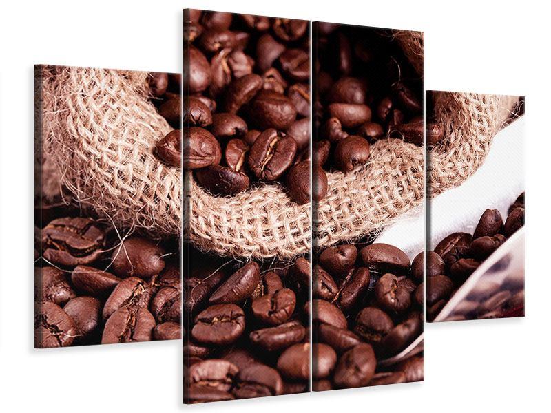 Leinwandbild 4-teilig XXL Kaffeebohnen