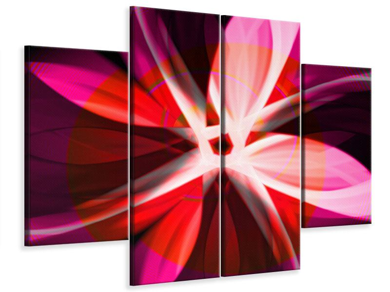 Leinwandbild 4-teilig Abstrakt Flower Power