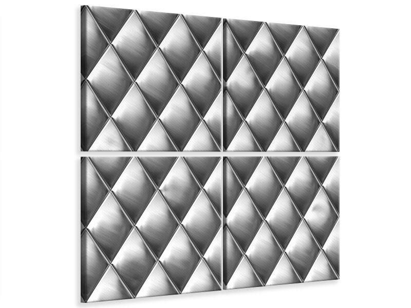 Leinwandbild 4-teilig 3D-Rauten Silbergrau