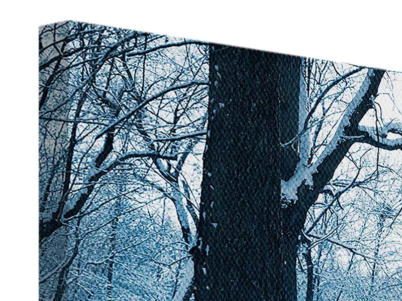 Leinwandbild 4-teilig Der Wald ohne Spuren im Schnee