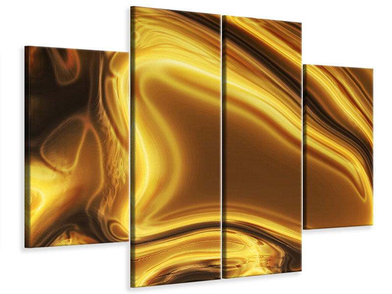Leinwandbild 4-teilig Abstrakt Flüssiges Gold