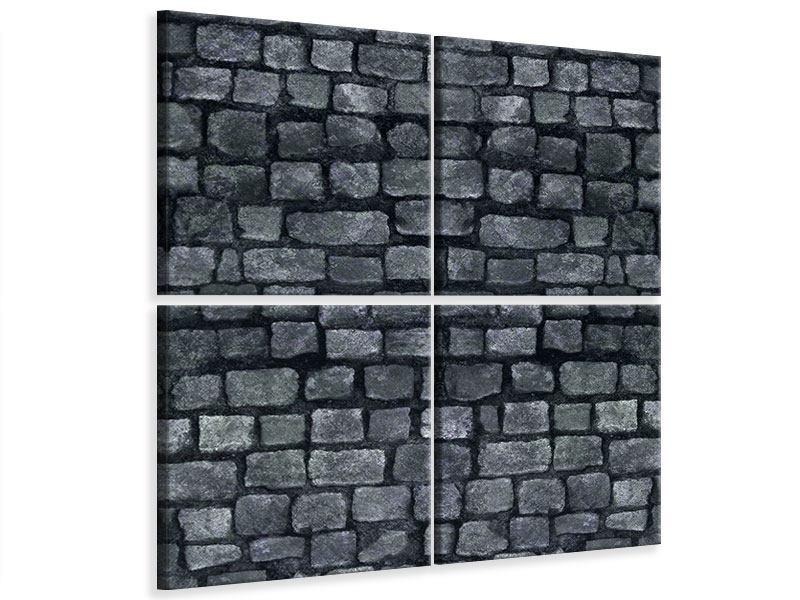Leinwandbild 4-teilig Graue Steinmauer