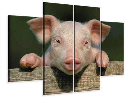Leinwandbild 4-teilig Schweinchen Namens Babe