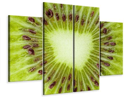 Leinwandbild 4-teilig Close Up Kiwi