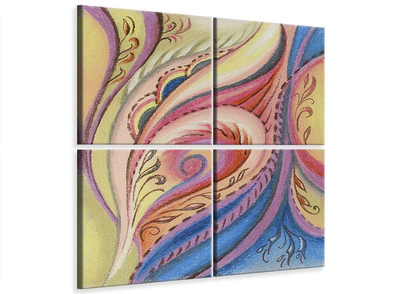 Leinwandbild 4-teilig Paisley-Malerei