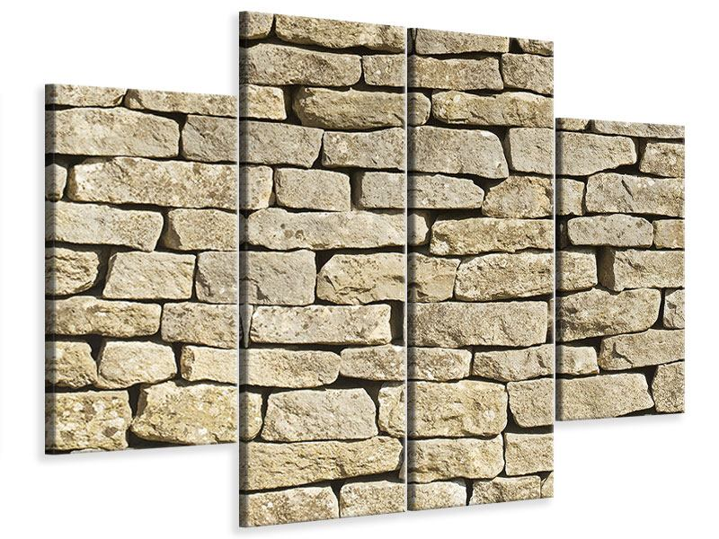Leinwandbild 4-teilig Alte Mauer