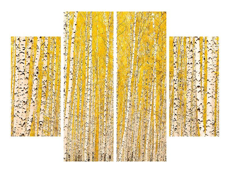 Leinwandbild 4-teilig Der Birkenwald im Herbst