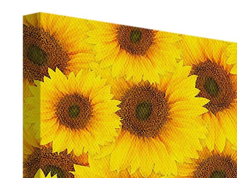Leinwandbild 4-teilig Ein Strauss Sonnenblumen