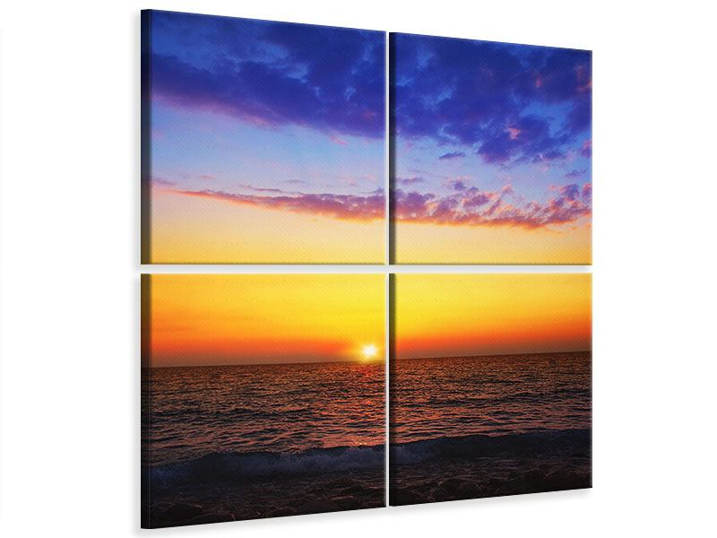 Leinwandbild 4-teilig Leuchtender Sonnenuntergang