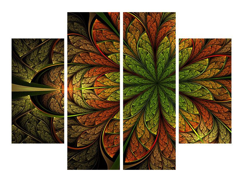 Leinwandbild 4-teilig Abstraktes Blumenmuster