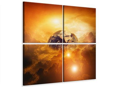 Leinwandbild 4-teilig Mystischer Planet Erde