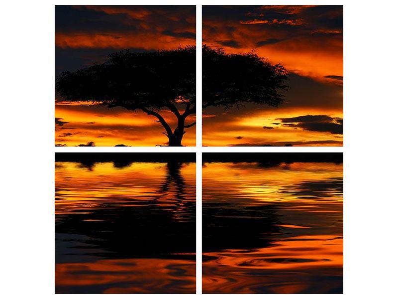 Leinwandbild 4-teilig Sonnenuntergang in Kenia