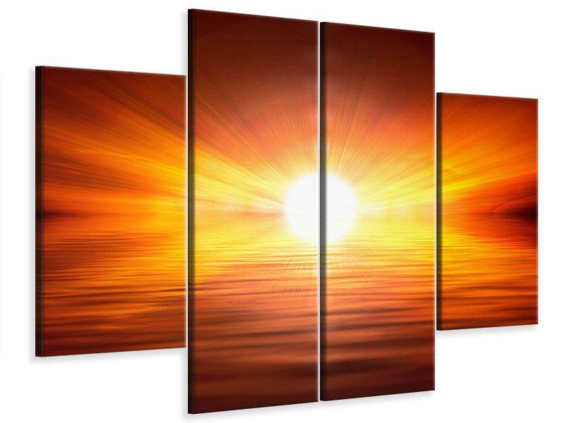 Leinwandbild 4-teilig Glühender Sonnenuntergang