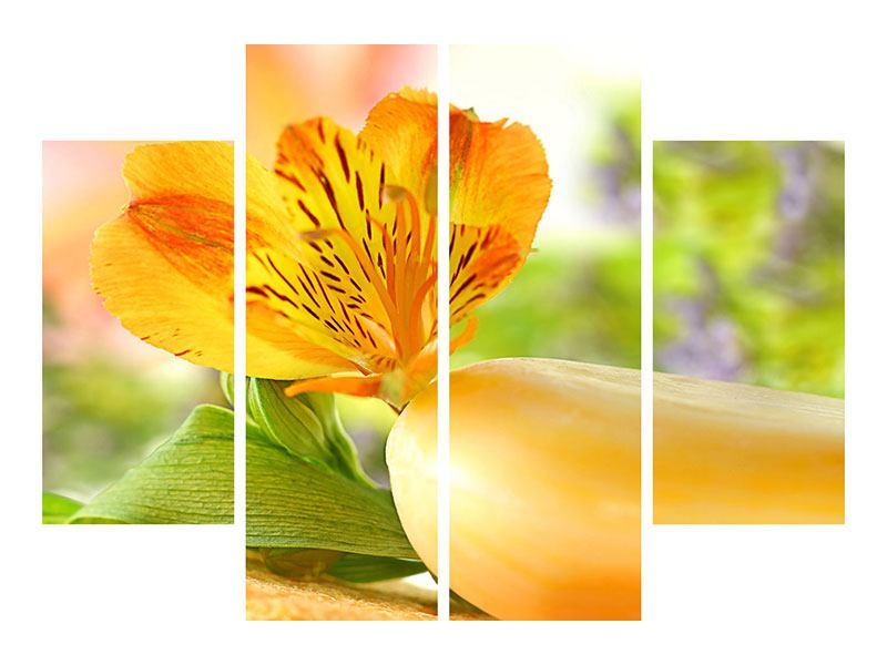 Leinwandbild 4-teilig Lilien-Frühstück