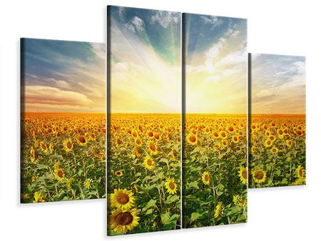 Leinwandbild 4-teilig Ein Feld voller Sonnenblumen