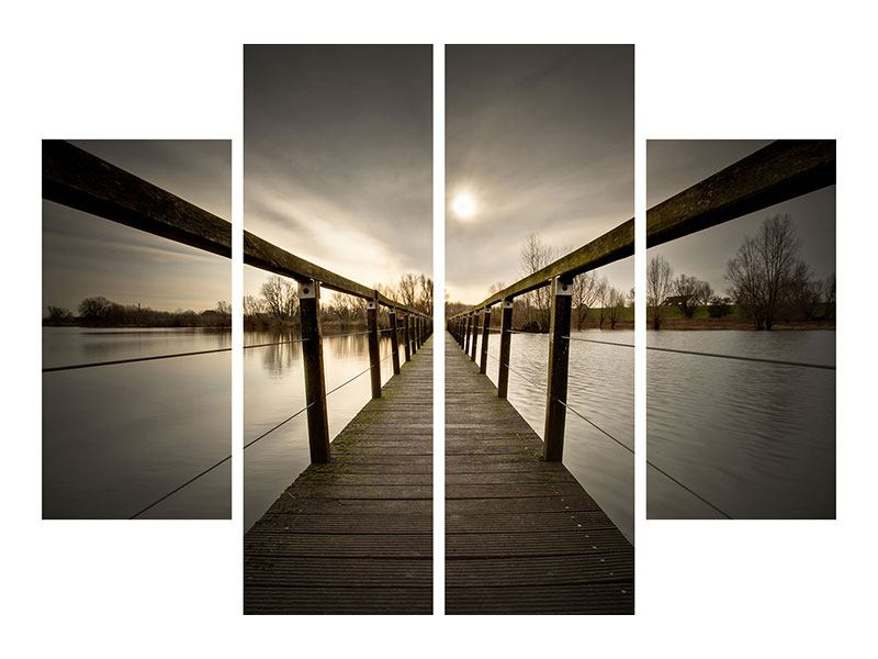 Leinwandbild 4-teilig Die Holzbrücke