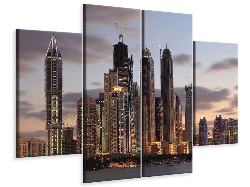 Leinwandbild 4-teilig Skyline Dubai bei Sonnenuntergang