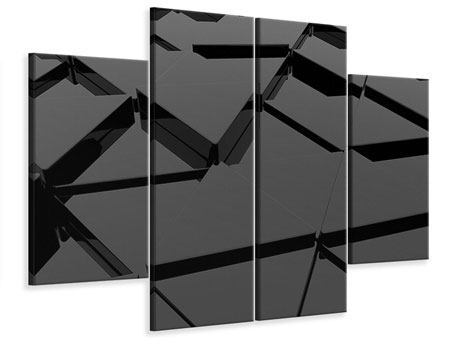 Leinwandbild 4-teilig 3D-Dreiecksflächen