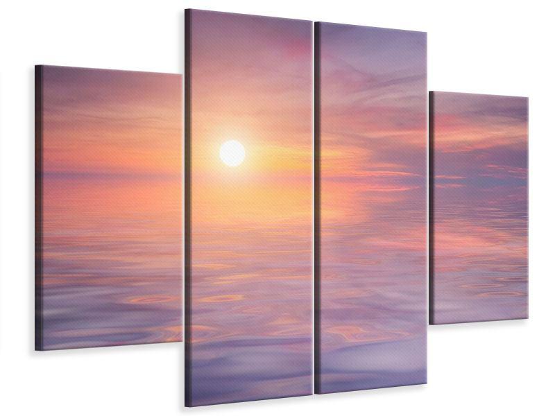 Leinwandbild 4-teilig Sonnenuntergang auf See