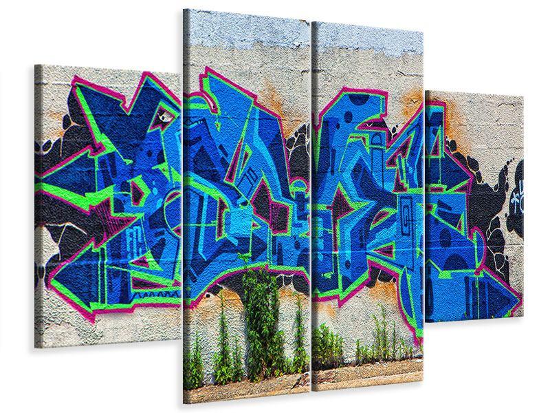 Leinwandbild 4-teilig Graffiti NYC